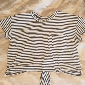 Black & White Stripe Cropped Shirt with Tie Back
